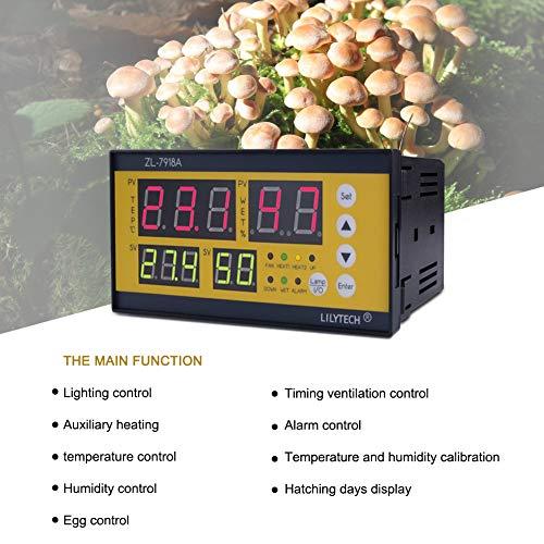 HuXwei ZL-7918A Regolatore di Temperatura e regolatore di umidità Digitale per incubatrice di Uova di pollame, Coltivazione di Funghi, Nero