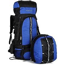Skysper 70L Zaino da Trekking + 10L Piccolo Sacchetto Rimovibile, Impermeabile Backpack Zaino Grande Capacità per Escursionismo Scuola Viaggio Trekking Campeggio Alpinismo Blu