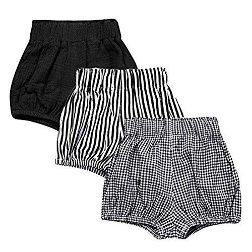 Und 1 Jungen Shorts (3 Pack of Kleinkind Baby Mädchen Jungen Cotton Linen Sommer Blend Cute Bloomer Shorts 1-2 Y)