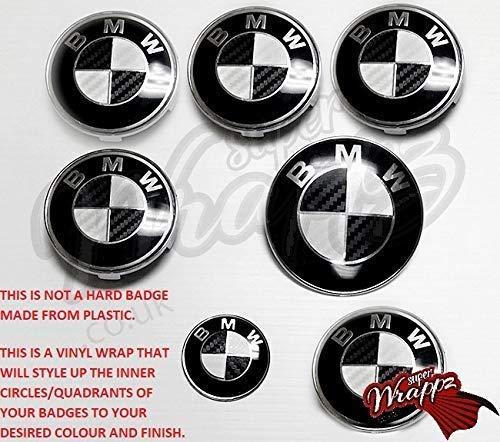 Nero e Bianco Fibra di Carbonio Emblema Distintivo Vinile Overlay Adesivo Superwrappz Copertura per BMW Cofano Baule Cerchi Dischi Tutte Serie 1,2,3,4,5,6,7,X1,X2 X3 X4 X5,X6,Z1,Z3,Z4,Z8 di,