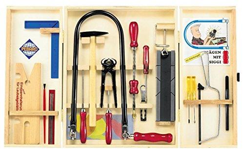 Pebaro Laubsägeschrank 18 Teile Werkzeugschrank Werkzeug-Set für Holzarbeiten Laubsägen