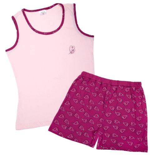 PYJAMA pour femme avec manches doux et agréable au toucher en 100%  coton Rose - Rose