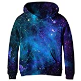 RAISEVERN Teen Hoodies Mädchen Jungen Space Galaxy 3D Hip Hop Pullover Mantel Lässige Streetwear Sweatshirt Dunkelblau