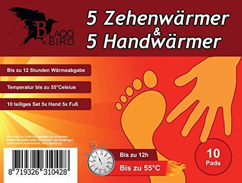 Blaqqbird Zehenwärmer & Handwärmer - [Je 5 Paar] Perfekt geeignet als Taschenwärmer und Fußwärmer - Vielseitig einsetzbare Wärmepads für Wintersport und Alltag - Thermopad | Schuhwärmer | Wärmesohlen -