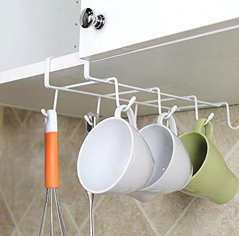 LEEFE 8 Haken Tassen, Aufhänger, Küche Schrank Tassen Storage Rack - Unter Ablage für Spatel, Krawatte, Schals und Gürtel Organizer