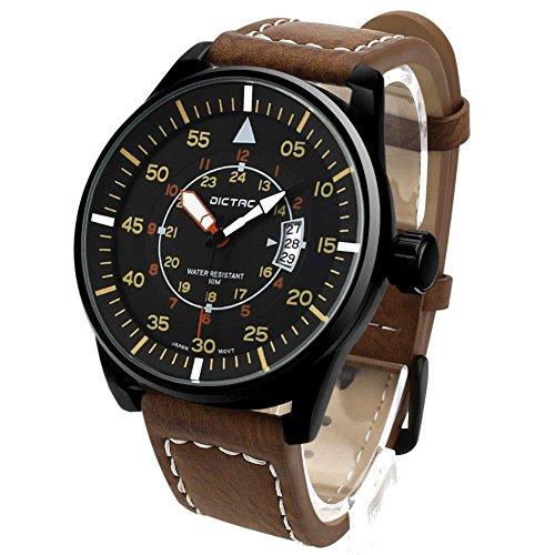 Dictac Herrenuhr Quarz-Uhrwerk Bewegungsuhr mit Lederband Herren Armbanduhr Wasserdicht Braun/Schwarz (Braun)