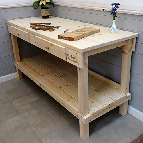 Werkbank aus Holz, 1,4 m - 2,1 m, 33 mm dick, 2 Schubladen, Size=1.4m x 0.72m £608, Vice=No vice, 1
