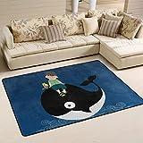 Yibaihe leicht, Bereich Teppich Teppich dekorativen modernes Süße Wal wasserabweisend farbbeständige für Wohnzimmer Schlafzimmer 91x 61cm (3'x 2'), 100% Polyester, Multi, 91 x 61 cm(3' x 2')