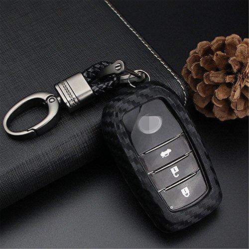 M.JVisun Weiche Silikonkautschuk Kohlefaser Textur Abdeckung für Toyota, Autoschlüssel Fall für Toyota 2 Tasten 3 Tasten - Schwarz - Weben Schlüsselbund -