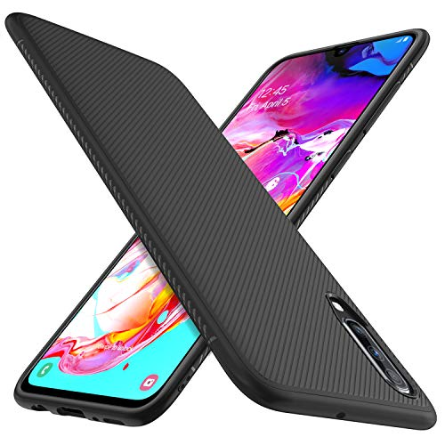 iBetter Coque pour Samsung Galaxy A70, Silicone Ultra Mince Solide, Durable, pour Samsung Galaxy A70 Smartphone. Noir
