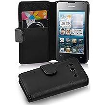 Cadorabo - Funda Huawei ASCEND Y300 Book Style de Cuero Sintético en Diseño Libro - Etui Case Cover Carcasa Caja Protección con Tarjetero en NEGRO-ÓXIDO