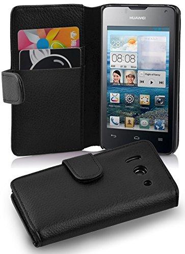 Cadorabo - Book Style Hülle für Huawei Ascend Y300 - Case Cover Schutzhülle Etui Tasche mit Kartenfach in OXID-SCHWARZ