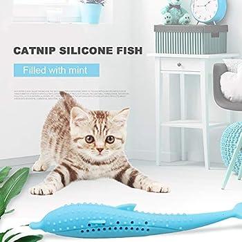 Jouets à l'herbe à chat, forme de poisson brosse à dents pour chat jouets molaires en silicone bâton poupée interactif fournitures pour animaux de compagnie jouet pour chats