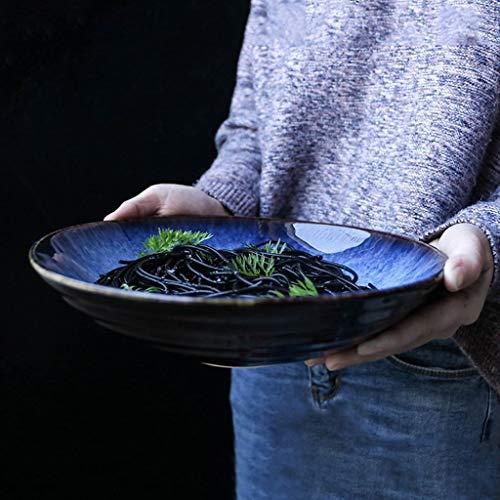 HKDW Keramikschale Kreativ Geschirr Blau Große Obstsalat Schüssel Suppe Schüssel 7 Zoll (Retro 7 Blau)