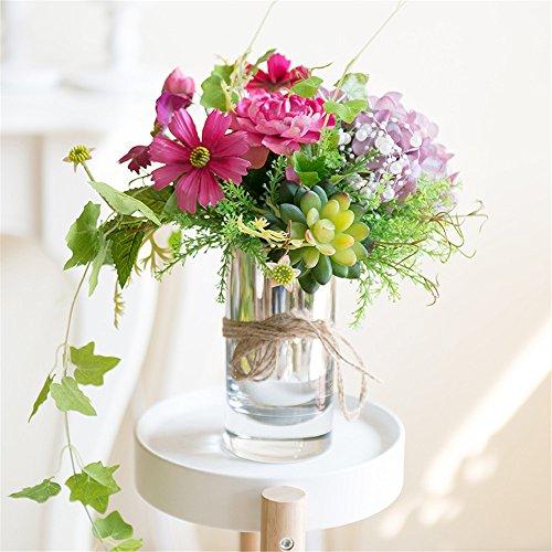 Hydrangea Daisy Emulation Flower Succulent Plant Flower Arrangement Glass Vase Suit Living Room Table Home Decor Artifical Flower Ornament, Purple/w*h :23cm*26cm