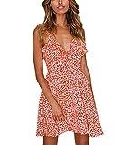 Cassiecy Damen Sommerkleid Knielang Ärmellos Blumen Gedruckt Strandkleid V-Ausschnitt Träger Rückenfreies Kleider Elegant Abendkleid Partykleid (L, Rot)
