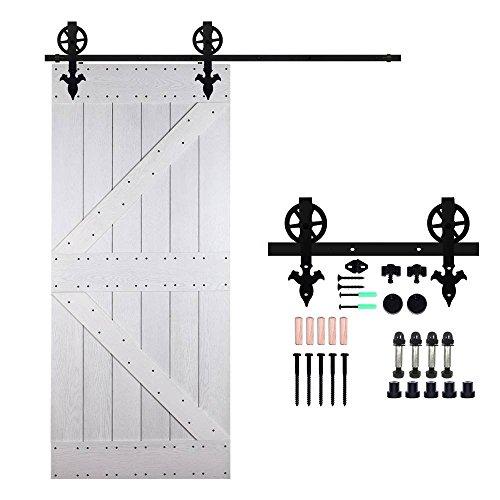 Ccjh 6.6ft-200cm scorrevole binario grande ruote rulli hardware della porta kit accessori per singolo porta scorrevole in stile rustico flower shaped