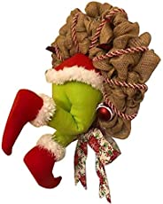 16 Inches Christmas Garland Decor Xmas Hanging Ornaments,How The Grinch Stole Christmas Burlap Wreath, Christm