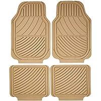 Sumex Universal 4pcs Heavy Duty Durable Easy Clean Beige Rubber Car Floor Mats