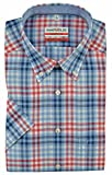 Marvelis Hemd, Modern Fit, Kurzarm, Blau Rot Weiß Kariert, Bügelfrei Knitterfrei, 100% Baumwolle, Button-Down Kragen (41)