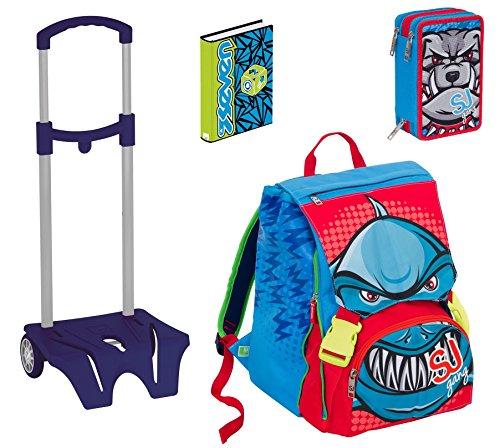 Set completo scuola - zaino + astuccio + diario + easy trolley - sj gang faccine animali - boy - blu - 28 lt elementari e medie 2 pattine sfogliabili
