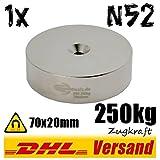 Starker großer Neodym Magnet Dauermagnet Permanentmagnet mit Loch 70x20mm 250kg vernickelt