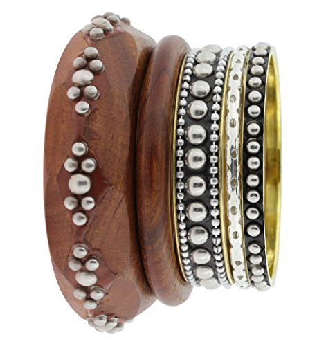 The Jewelbox Trendy Stylish Antique Silver Plated Wood Bangle Kada Set Of 5 For Women