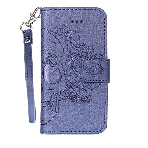MOONCASE IPhone5/5S/iPhone SE Étui, Crâne Relief Motif Protection en PU Cuir Folio Housse Béquille Etui à rabat Case Cover avec Porte-cartes Fentes Portefeuille Béquille Fermeture Magnétique pour iPho Bleu