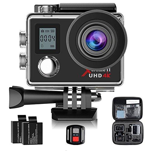Campark ACT76 Action Sport-Kamera 4K 1080P Dual LCD Bildschirm Action Cam WIFI 16MP Ultra HD Helmkamera Wasserdicht mit Handgelenk Fernbedienung 2 verbesserten Batterien Transporttasche und kostenlose Accessoires