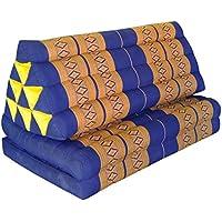 Preisvergleich für Wilai Kapok Thaikissen Kissen mit zwei Auflagen XXL, blau/gelb