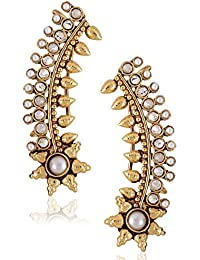 Shining Diva Party Wear Fancy Ear Cuffs Earrings for Girls & Women(Golden)(rrsd6783er)