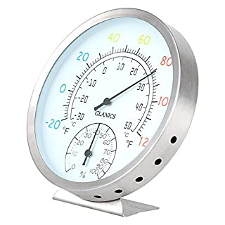 GLANICS Indoor Outdoor Thermometer/Hygrometer, Decorative Wall Thermometer for Outside, Patio or Room, Stainless Steel (1 Pack, Silver)