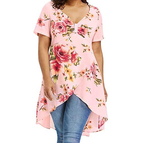 VJGOAL Damen T-Shirt, Damen Plus Size Criss Cross Double Chiffon Print Kurzarmhemd Pullover Unregelmäßige Tops Bluse (4XL / 50, S-A-Rosa)