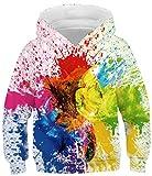Ocean Plus Jungen Kapuzenpullover Bunt Teens Hoodie Kinder Langarm Pulli mit Kaputzen Sweatshirt Pullover (L (Körpergröße: 145-155cm), Bunte Tinte Graffiti)