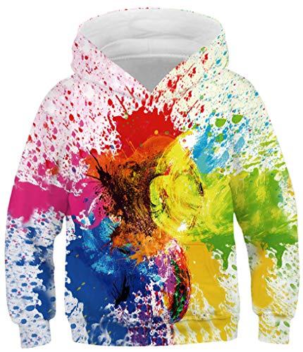 Ocean Plus Jungen Kapuzenpullover Bunt Teens Hoodie Kinder Langarm Pulli mit Kapuzen Sweatshirt Pullover (S (Körpergröße: 125-130cm), Bunte Tinte Graffiti)