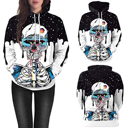 Paar Kostüm-Oberteile 3D Schädeldruck Halloween Langarm Kapuzenpullover- Sweatshirt Damen Sweatjacke Pullover Langarmshirts -Oberteil Pulli T-Shirt Freizeit Top Lose Bluse(Blau,L)