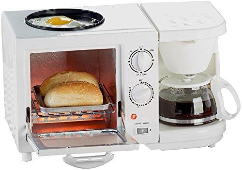 Rosenstein & Söhne Frühstückscenter: Kompakter 3in1-Frühstücksofen, 1.150 Watt (Miniküche) (Toaster Ofen Backen Pfanne)