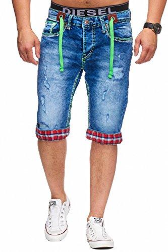 L.Gonline Bermuda Shorts Herren Jeans Shorts Dicke Naht (W36, 198)