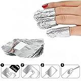 Ultra-minces Feuille d'aluminium Dissolvant avec Coton pour vernis à ongles, Nail Art Soak Off Gel/Shellac Polish Remover Papier, idéales pour dissoudre le gel et le vernis à ongles acrylique,100pcs