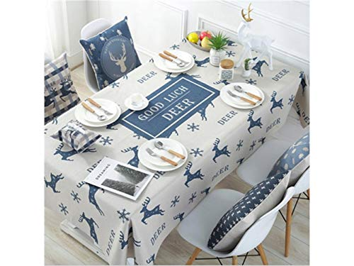 SUPRERHOUNG Rechteck Baumwolle Catoon Deer Tischdecke für Home Küche Garten Außeneinsatz (weiß)