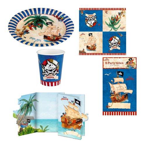 Spiegelburg Captu0027n Sharky Partyset 21671 Servietten + 21666 Partyteller +  21667 Partybecher + 21670 Partytüten + 21668 Einladungskarten (Spielzeug)