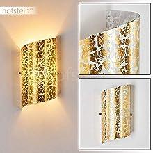 Wandleuchte Pordenone aus Glas in Struktur Goldfarben - Zimmerlampe Wohnzimmer für drinnen - Wandstrahler mit E14-Fassung - Wandleuchte Schlafzimmer – mit Lichteffekten an der Wand
