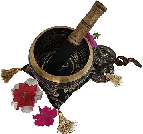 Großes OM Mind Design Tibetische Klangschale Tingsha Becken Set - mit Klammer und Kissen, zusätzliche Geschenke im Inneren - für Yoga, Meditation, buddhistische Gebete und Chakra-Heilung