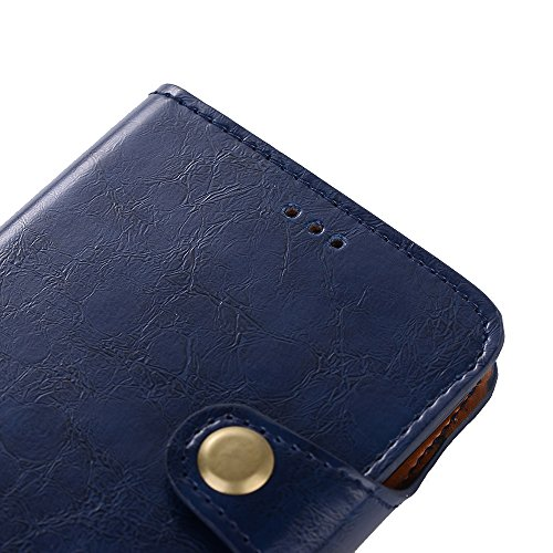 iPhone X Hülle, Valenth PU Leder Crazy Horse Pattern 2 in 1 Brieftasche Hülle Cover [Stand Feature] [ID Card Slots] Flip Cover und Rückseite Hülle für iPhone X Blau