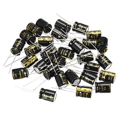 sourcing map Radial Condensateur /électrolytique 330uF 35V 105/°C Vie 2000H 8x16mm noir 30 pc