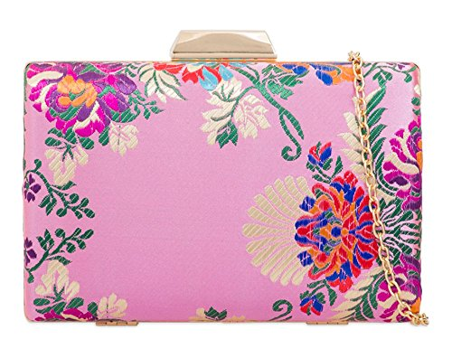 Hautefordiva , Damen Clutch burgunderfarben S rose