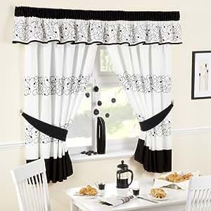 Jazz Black Kitchen Curtains 66 Wide X 48 Drop Kitchen Home