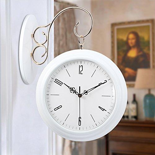 WALL CLOCK WERLM Simple et Élégant Salon Chambre à Coucher Horloge Murale Mute Créatif Salon en Bois horloges Horloge Double Face 20 cm à 50,5 cm3