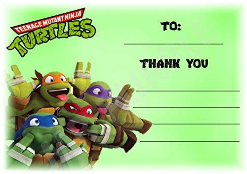 Teenage Mutant Ninja Turtles Dankeskarten für Geburtstagsparty-Teilnahme–Querformat–Party-Zubehör–DIN A6, 12Stück WITHOUT Envelopes