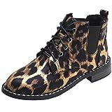 MYMYG Chelsea Boots Mode Frauen Bogen Spitze Stiefeletten Flache Beiläufige Wildleder Einzelne Stiefel Leopard Schuhe für Walking Sports Joggingschuhe Atmungsaktiv